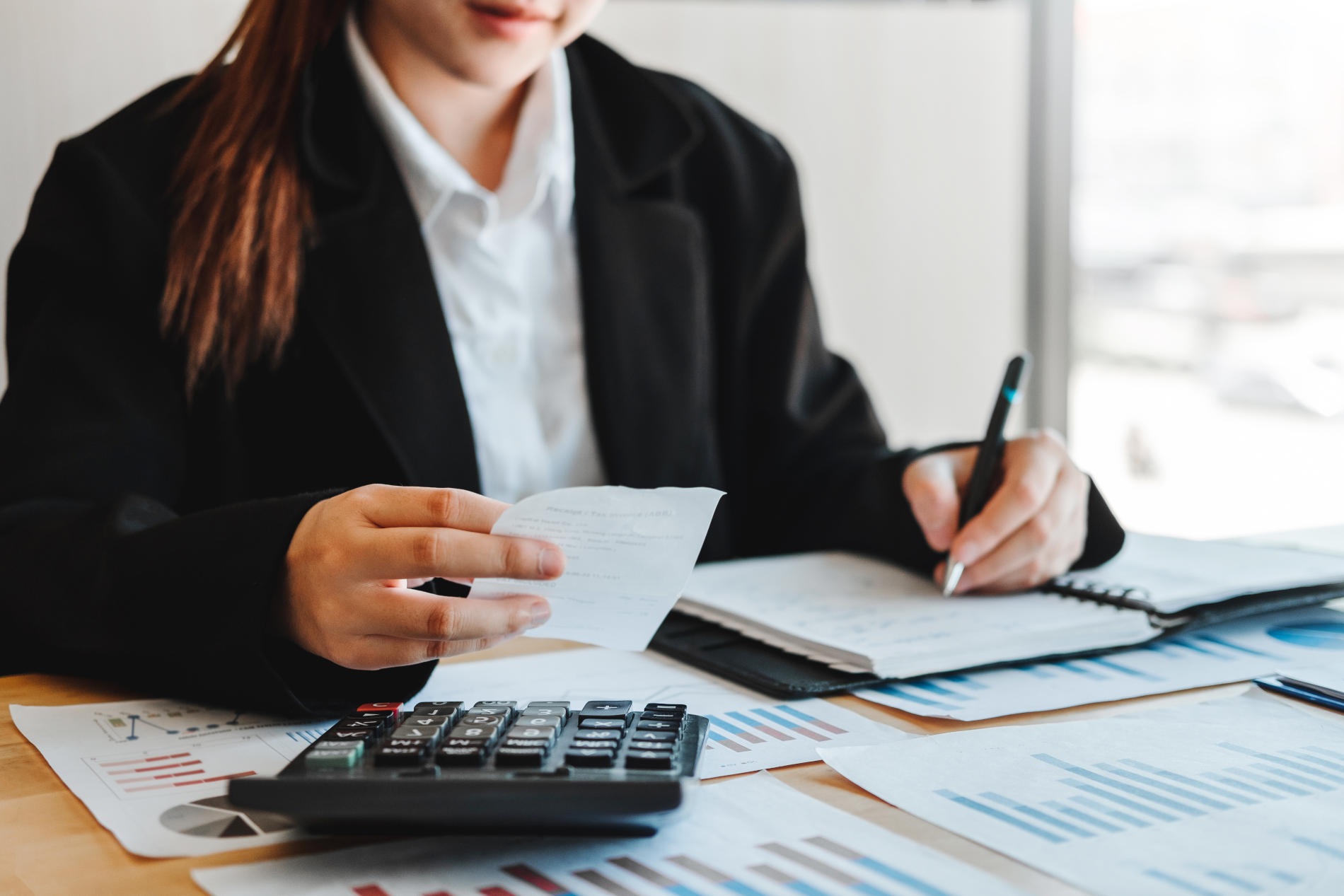 Business woman  Accounting Financial investment on calculator Co